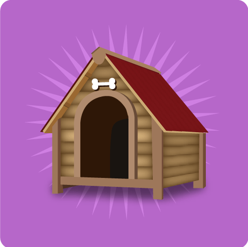 Graphic of doghouse with rays of light around it