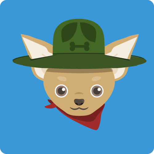 Graphic of tan dog face with green hat and red bandana