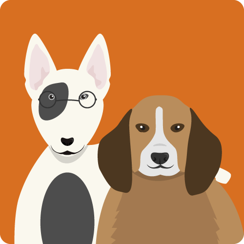 Graphic of white and black dog with glasses putting arm around brown and white dog