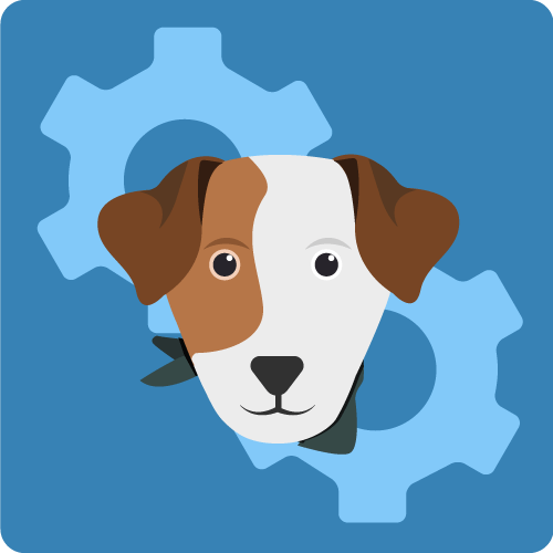 Graphic with multi-colored dog's face and gears in the background